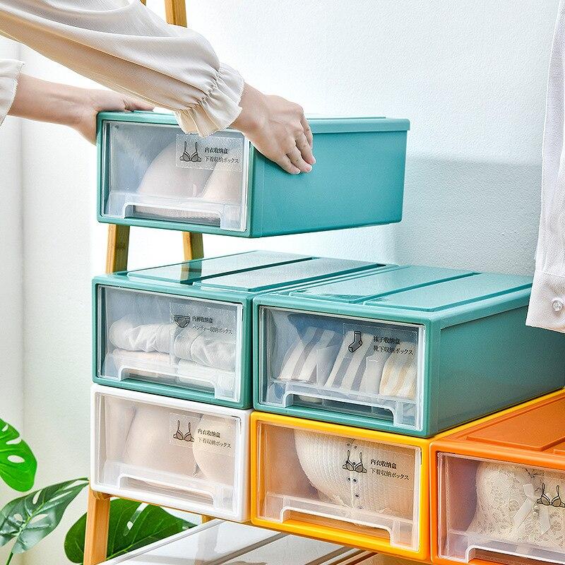Пластиковая коробка JSWORK, прозрачный ящик для хранения, органайзер, разделитель для шкафа, нижнего белья, носков, товары для дома и офиса, сто...