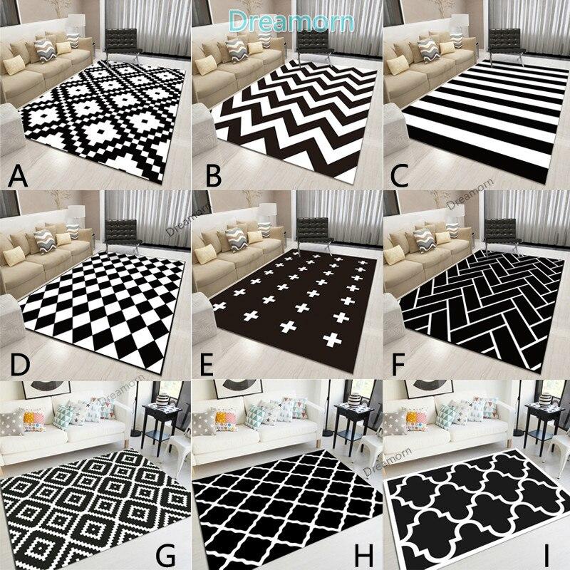 Nordic Geometric Black And White Area Rugs Living Room Bedroom Carpet Minimalist Modern Floor Rug Bedside Balcony Hallway Mats
