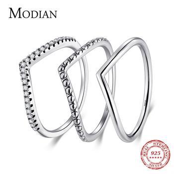 Modian-anillo sencillo apilable de Plata de Ley 925 auténtica para mujer, 3...