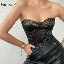 Forefair 2021 Black Sleeveless Zipper Sexy Crop Tops Women Summer White Party Fashion Tank Top Off Shoulder V Neck Breast Wrap