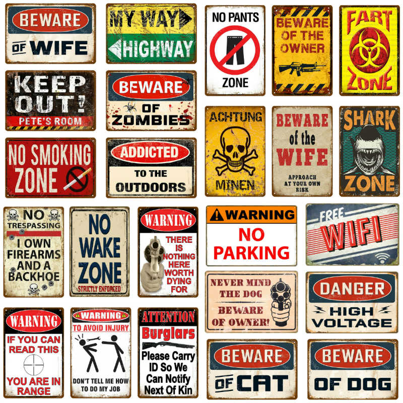 No Pants Zone decoración de pared advertencia de peligro No traspaso pistola Metal signos achsung Minen Vintage Poster Art placa YJ160