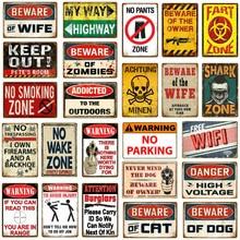 Keine Hosen Zone Wand Decor Warnung Gefahr Kein Trespassing Gun Metall Zeichen Achtung Minen Vintage Poster Kunst Plaque YJ160