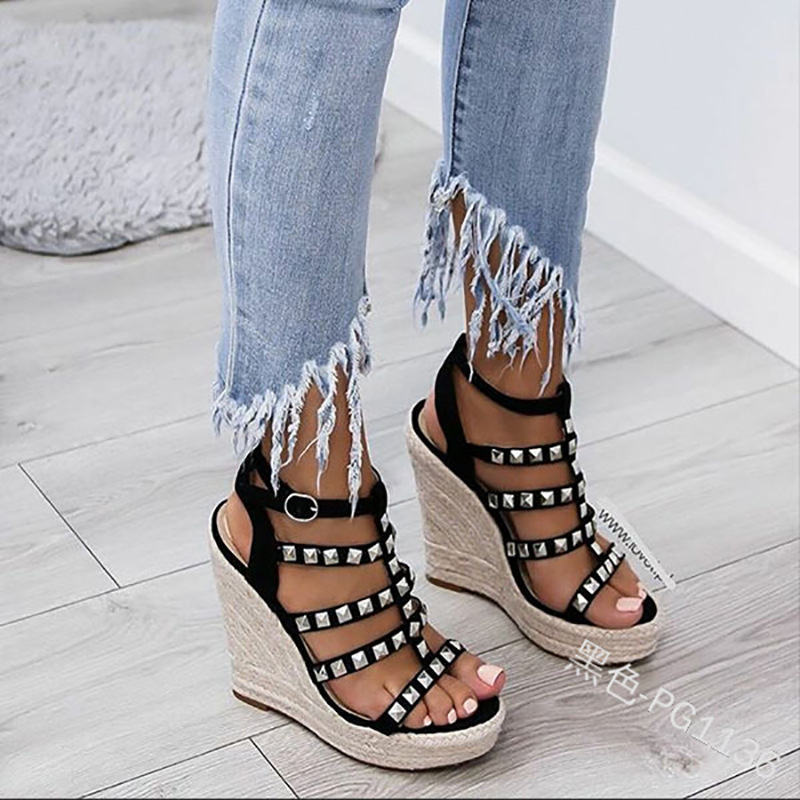 Crystal Sandals Wedges Ankle-Strap Ladies Shoes Peep-Toe Summer Women Casual Solid Fashion