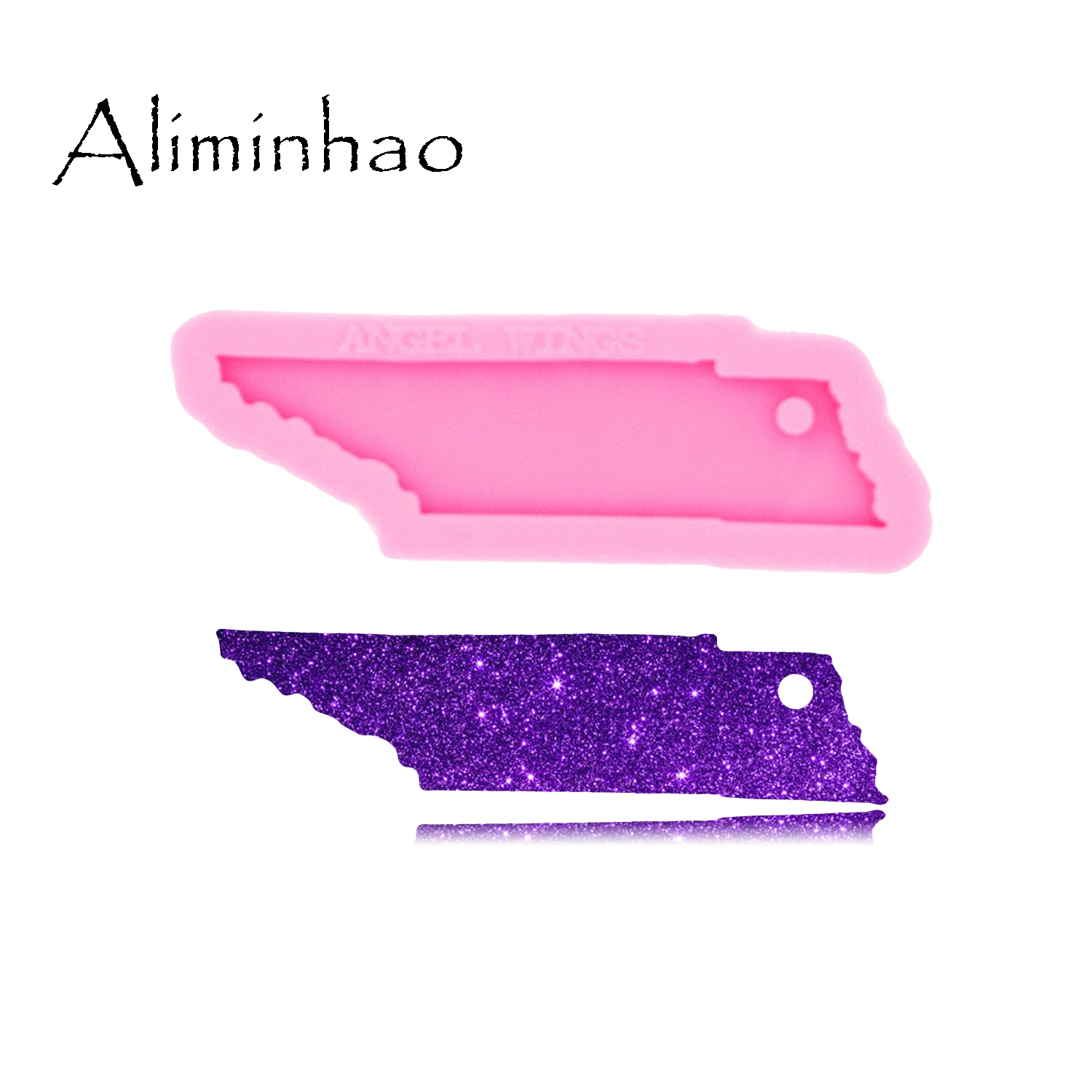 DY0231 Shiny Glossy USA State Map Tennessee Shape Silicone Keychain Molds Epoxy And Resin Craft Mould