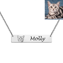 AILIN Women Necklace Custom Name Bar Personalized Photo Pet Dog Cat Picture Engraving