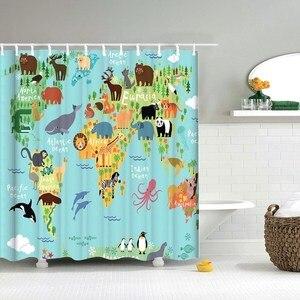 Dafield Kids Curtains Cute Funny Cartoon Dinosaur Seaworld Owls World Map Nautical Fabric Bathroom Kids Shower Curtain(China)