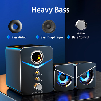 USB Wired Fashion Combination Speaker For Computer Speakers Bass Stereo Music Player Subwoofer Sound Box For PC Phones Sound Bar kiito y15 wired sound bar speakers computer wired speakers home theater tv sound bar speakers computer
