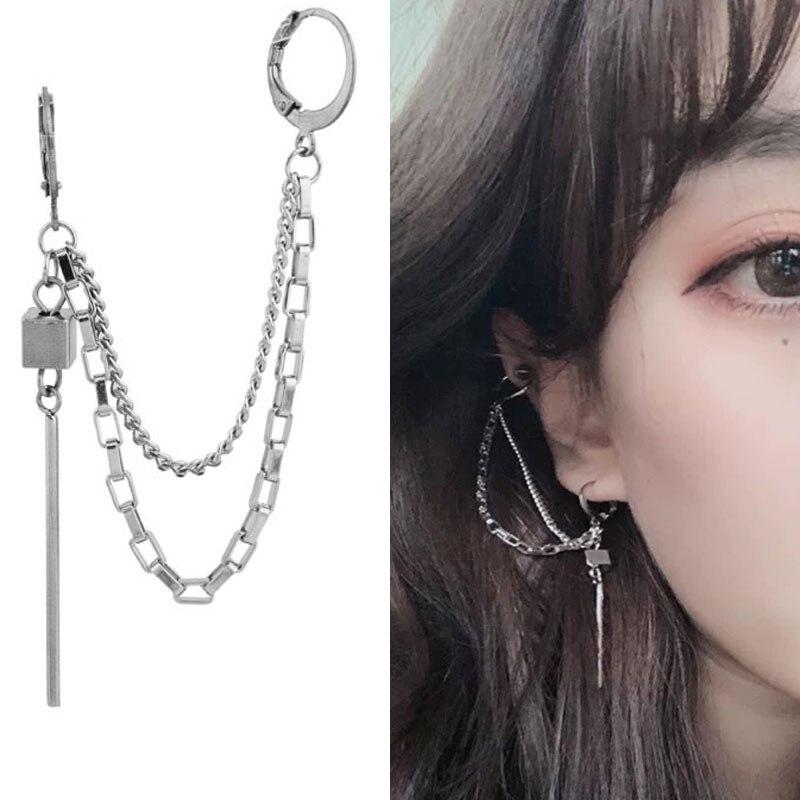 Brincos falsos góticos, piercing de cartilagem, em formato de gota, para mulheres e homens, cruz, borlas longas, joias de pérolas, 1 peça brincos para brincar