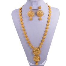 Wando India Sieraden Set Goud Kleur/Koper Ketting Oorbellen Arabische Dubai Wedding Party Jewelr Set Moeder Geschenken Band Gift doos
