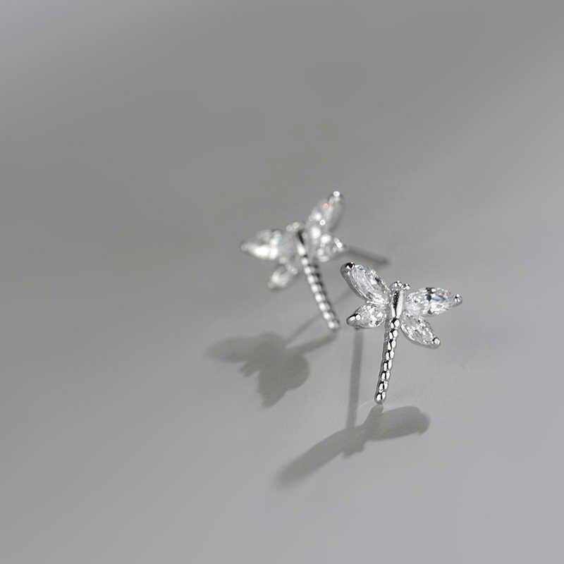 Cantik Elegan Mencegah Alergi 925 Sterling Silver Capung Kristal Anting-Anting untuk Wanita Hadiah Perhiasan Brincos Oorbellen