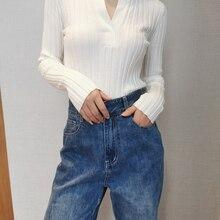 Deep V-neck Women Knitted Sweaters Slim Black White Gray Female Long-sleeved Thi