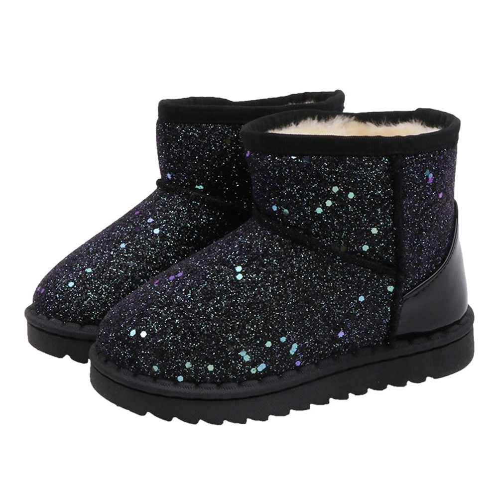 Kids Bling Sequin Glitter Boots Girls 2020 Winter Snow Shoes Anti Slip Fur Ankle Boots Fashion Girl Sneaker Botas Bebe Niña D30