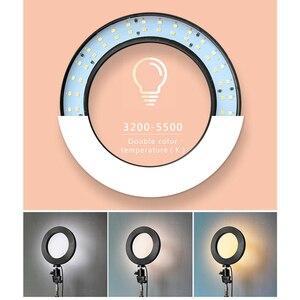 Image 2 - Foleto 16cm LED Selfie sopa halka ışık fotoğrafçılığı makyaj halka lamba ile telefon tutucu için USB fişi canlı akışı Youtube Video