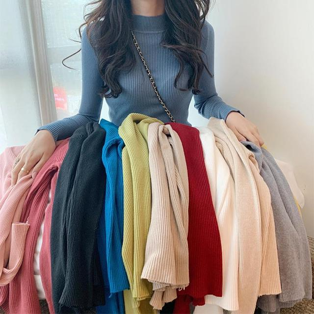 Women Sweaters Autumn Winter Turtleneck Long Sleeve Stretch Blue Knitted Pullovers Fashion Femme Soft Thin Jumper Tops 10 Colors 2
