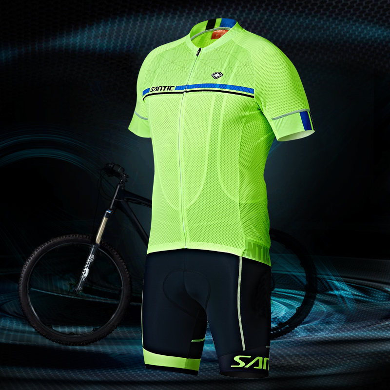 Santic Men Cycling Jersey Pro Fit Four Colors Antislip Sleeve Cuff  Road Bike MTB Short Sleeve Top Riding Shirts M7C02107