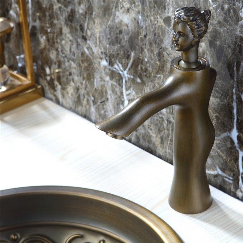 Robinet de bassin d'art de beauté européenne moderne cuivre chaud et froid tout le robinet de lavabo de bassin de salle de bains - 4
