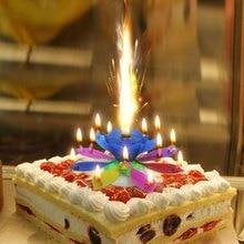 Музыка торт свечи Цветок Лотоса День рождения свечи фестиваль декоративные музыка День Рождения Декор