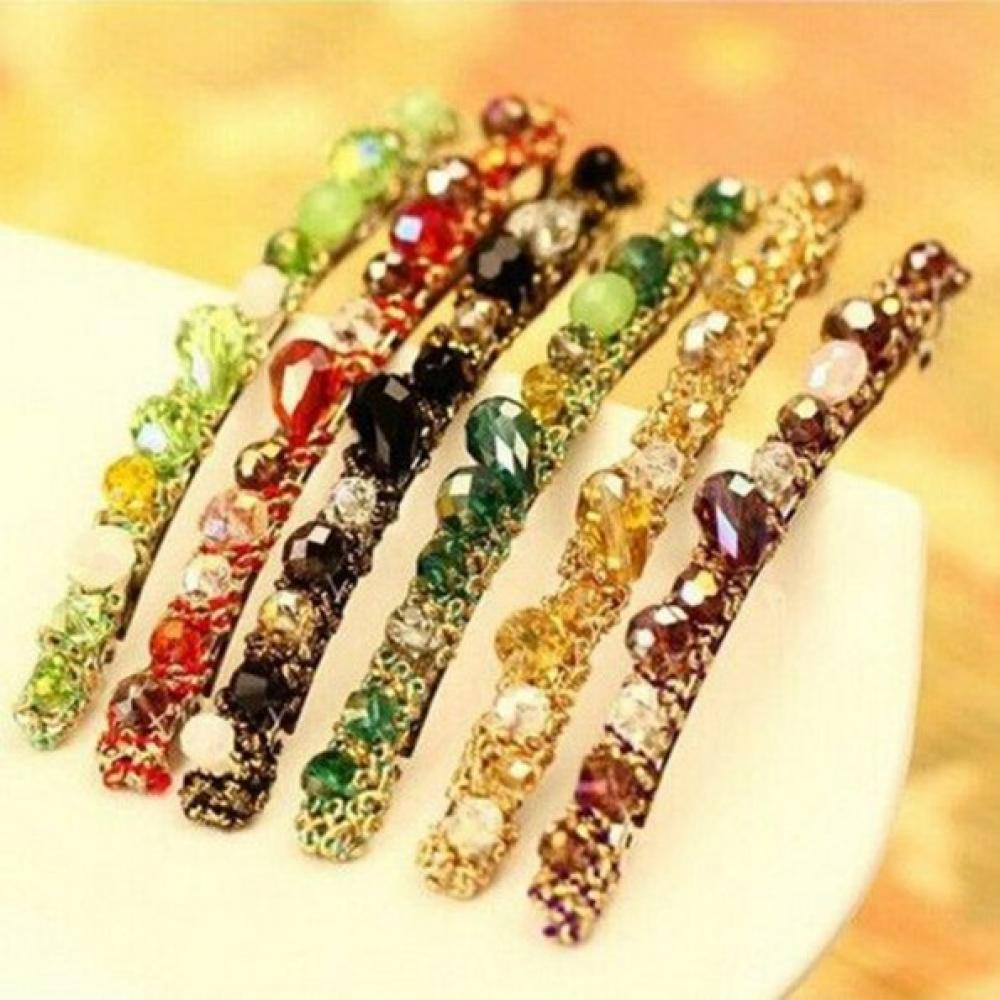 1Pcs Crystal Hairpins Headwear For Women Girls Rhinestone Hair Clips Pins Barrette Styling Tools Accessories 3 Colors