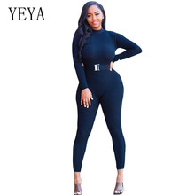 YEYA Solid Jumpsuits for Female Women Sexy Open Back Bodycon Long Sleeve Clubwear Playsuits Rompers Skinny Black Trousers