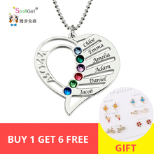 StrollGirl 925 Sterling Silver Engraved Heart Birthstones Pendant Necklace Personalized Custom Name Collars Mother's Day Gift