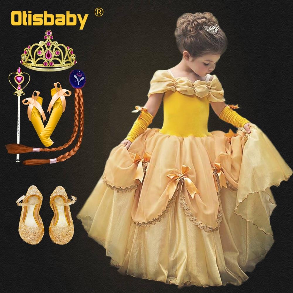 Fantasia da bela e da fera halloween belle, traje de luxo para crianças, bela e a fera, vestido de princesa belle, elegante, vestidos de cerimonial para meninas