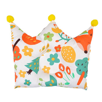 Baby sleeping pillow cute cartoon newborn head protection crown shape anti roll pillows cotton prevent flat cushion