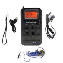 HRD-737 Radio przenośne pasmo samolotu odbiornik FM/AM/SW/ CB/Air/Radio VHF World Band z wyświetlaczem LCD Alarm z wyświetlaczem