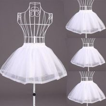 Women Double Layers Solid Color Short Tulle Petticoats Elastic Waistband A Line Mesh Underskirt Crinolines For Wedding Dress