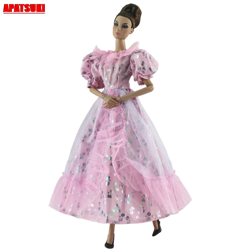 Light Pink Lace Lantern Sleeves Costume Party Gown Dresses for Barbie Doll Clothing for 1/6 BJD Dolls Clothes House Accessories(China)