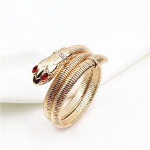 цена на Trendy Gold Color Cobra Snake Bangles for Women Luxury Brand Korean Animal Bangle Bracelet Dropshipping Jewelry