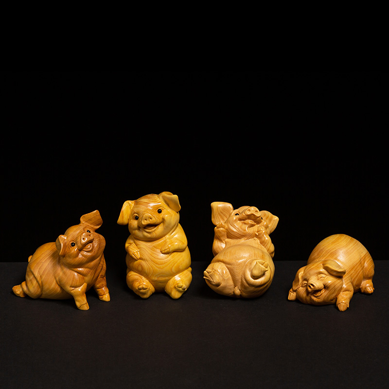 12 Zodiac Pigs Animal Statue Decoration Boxwood Carving Hand Piece Home Office Crafts Creative Wood Lucky Feng Shui