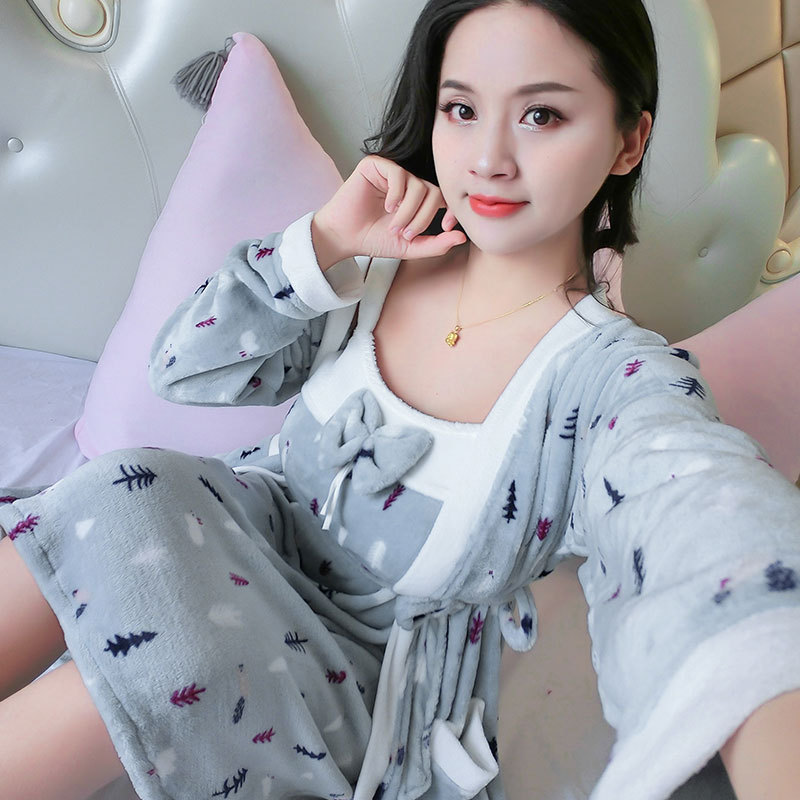 Flannel Two-Piece Set Women's Robes Women's Winter Pajamas 12 # Gray Blue Blue And White Tree Tracksuit Sexy Camisole Short Skir