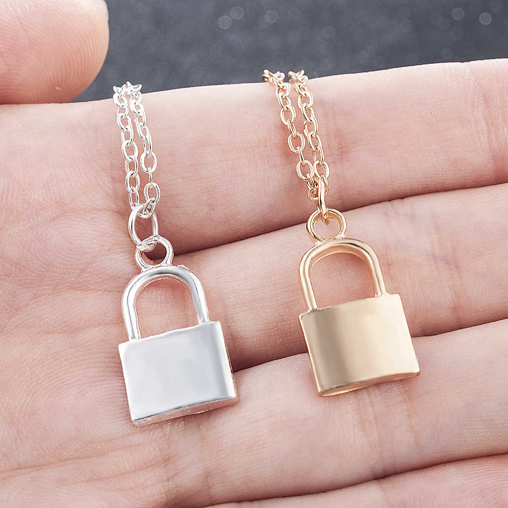 2019 New Women Jewelry Silver Color Lock Pendant Necklace Brand New Stainless Steel Rolo Cable Chain Necklace Friendship Gifts