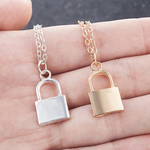 2019 New Women Jewelry Silver Color Lock Pendant Necklace Brand Stainless Steel Rolo Cable Chain Friendship Gifts