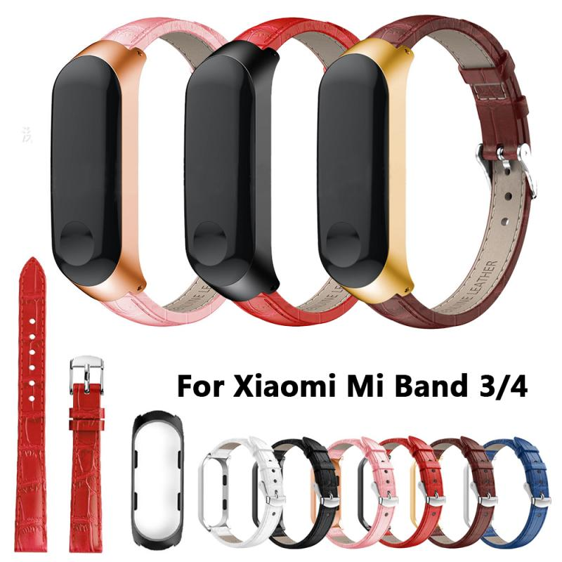 Good Quality Leather Quality Watch Band Strap For Mi Band 4 Smart Watchbands Metal Case For Xiaomi Band 3 Replacement Wristband