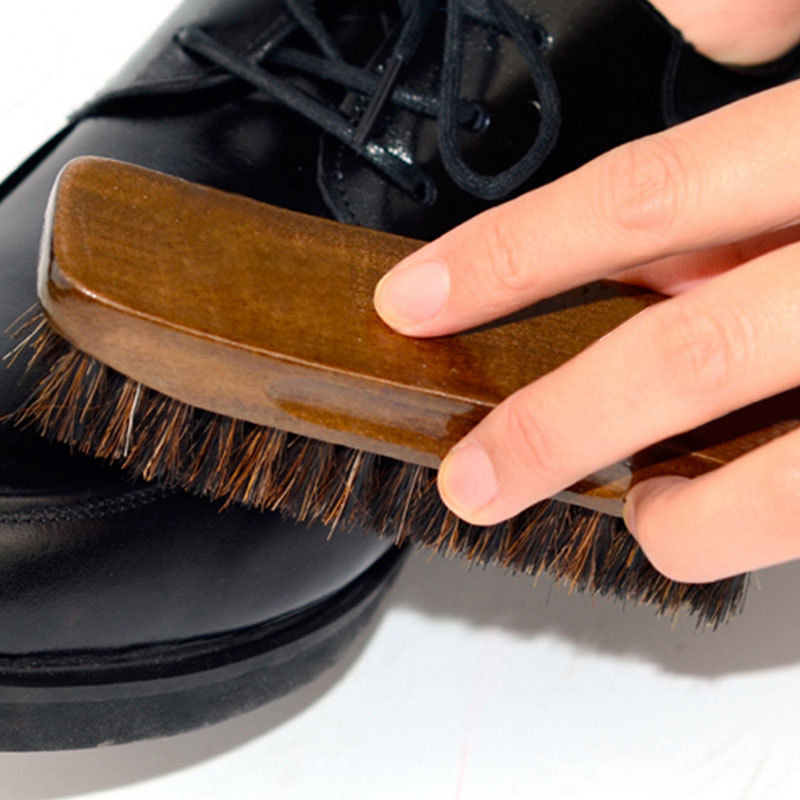 Wood Handle Horse Bristle Hair Brush Boot Polish Buffing Brush Dust Cleaner