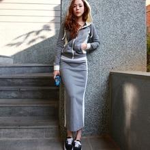 Casual Two Piece Skirt Matching Woman Set 2019 Hoodies Long Sleeve Jacket+Maxi Pencil Skirt Autumn 2XL Plus Size Women Tracksuit