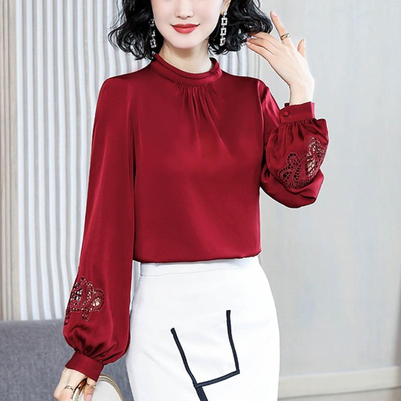 Korean Fashion Silk Women Blouses Elegant Women Satin Blouse Shirts Lady Lantern Sleeve Hollow Out Blouses Shirt Plus Size Tops