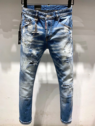 new european dsq brand mens cool guy jeans pants Men Slim jeans denim trousers zipper blue hole Pencil Pants jeans for men 9629