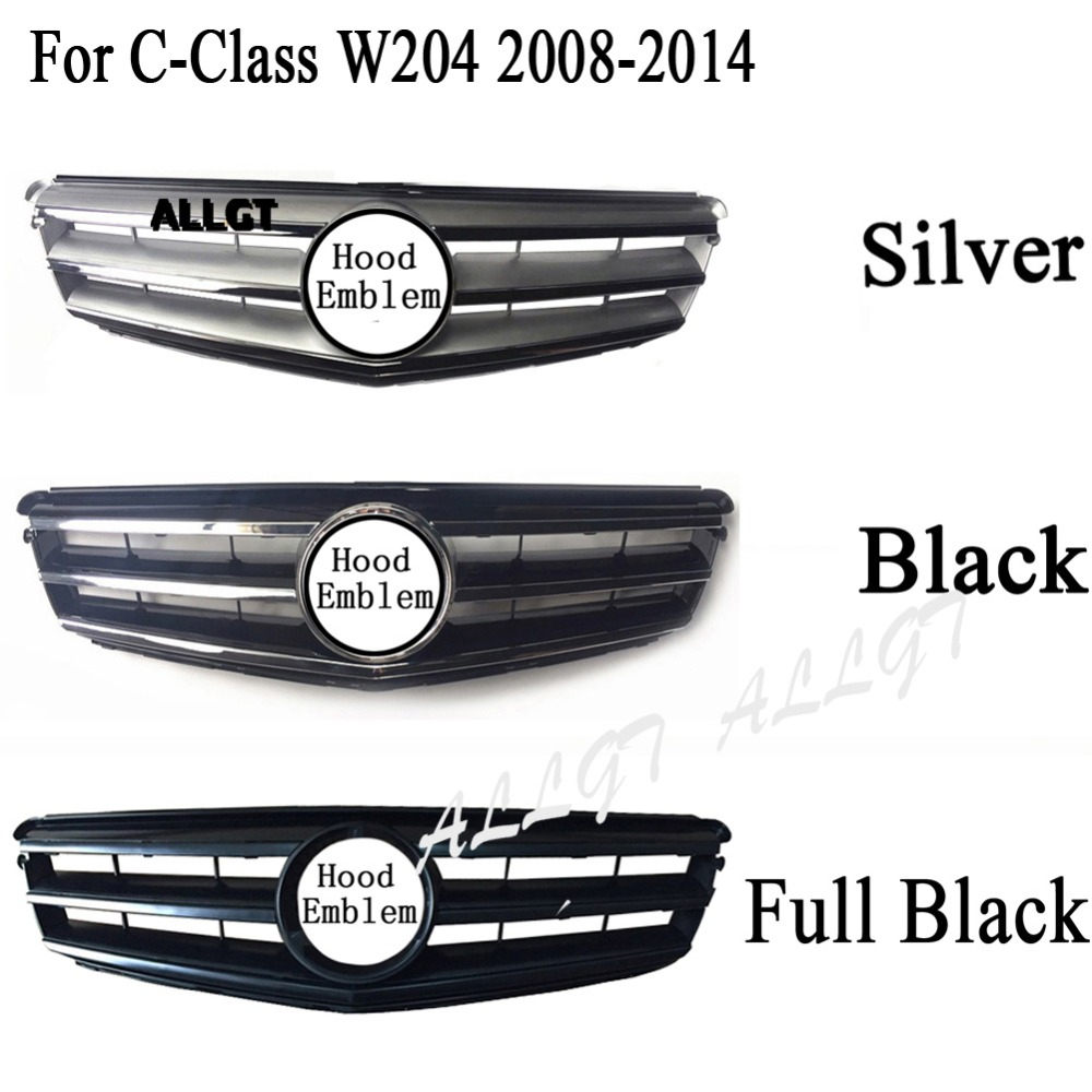 Front Upper Grill Bumper Fit for <font><b>Mercedes</b></font> Benz W204 C-Class C200 <font><b>C300</b></font> C350 2008 2009 2010 2011 <font><b>2012</b></font> 2013 2014 Black Chrome image