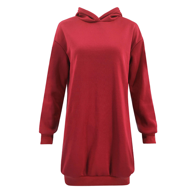 Women basic hoodies classy Casual Simple pullover Hooded Long Sleeve Hoodie female jumper red black dark blue