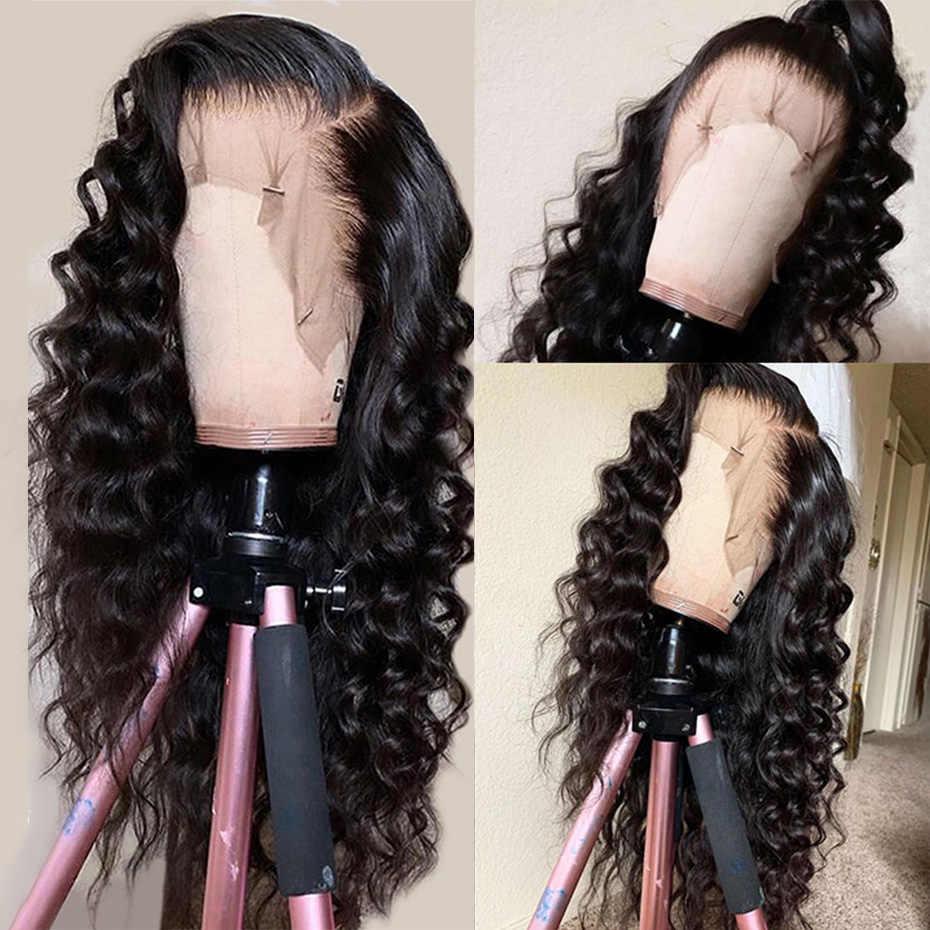 Pelucas de cabello humano malayo suelto ondulado 13x4 con encaje Frontal pelucas de cabello humano para mujeres peluca Frontal de encaje de pelo humano pre-desplumado Remy de 8-26 pulgadas