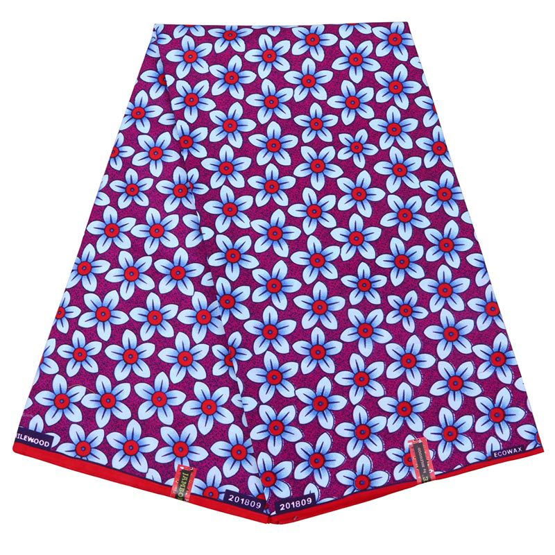 New Wax Fabric African Flowers Print Veritable Real Dutch Wax Fabric Nigeria Ankara Real Dutch Wax 6Yards\set