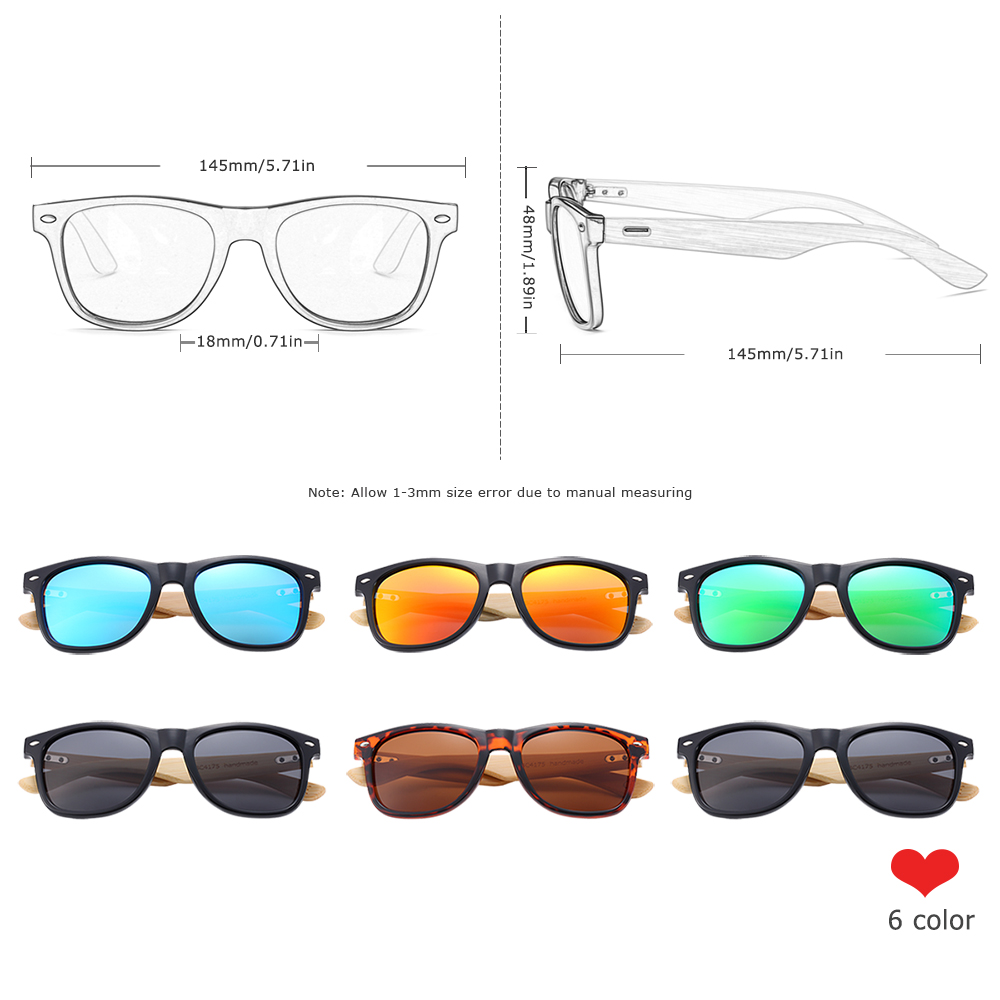 Классические бамбуковые солнцезащитные очки BARCUR для мужчин, поляризационные солнцезащитные очки для женщин и мужчин