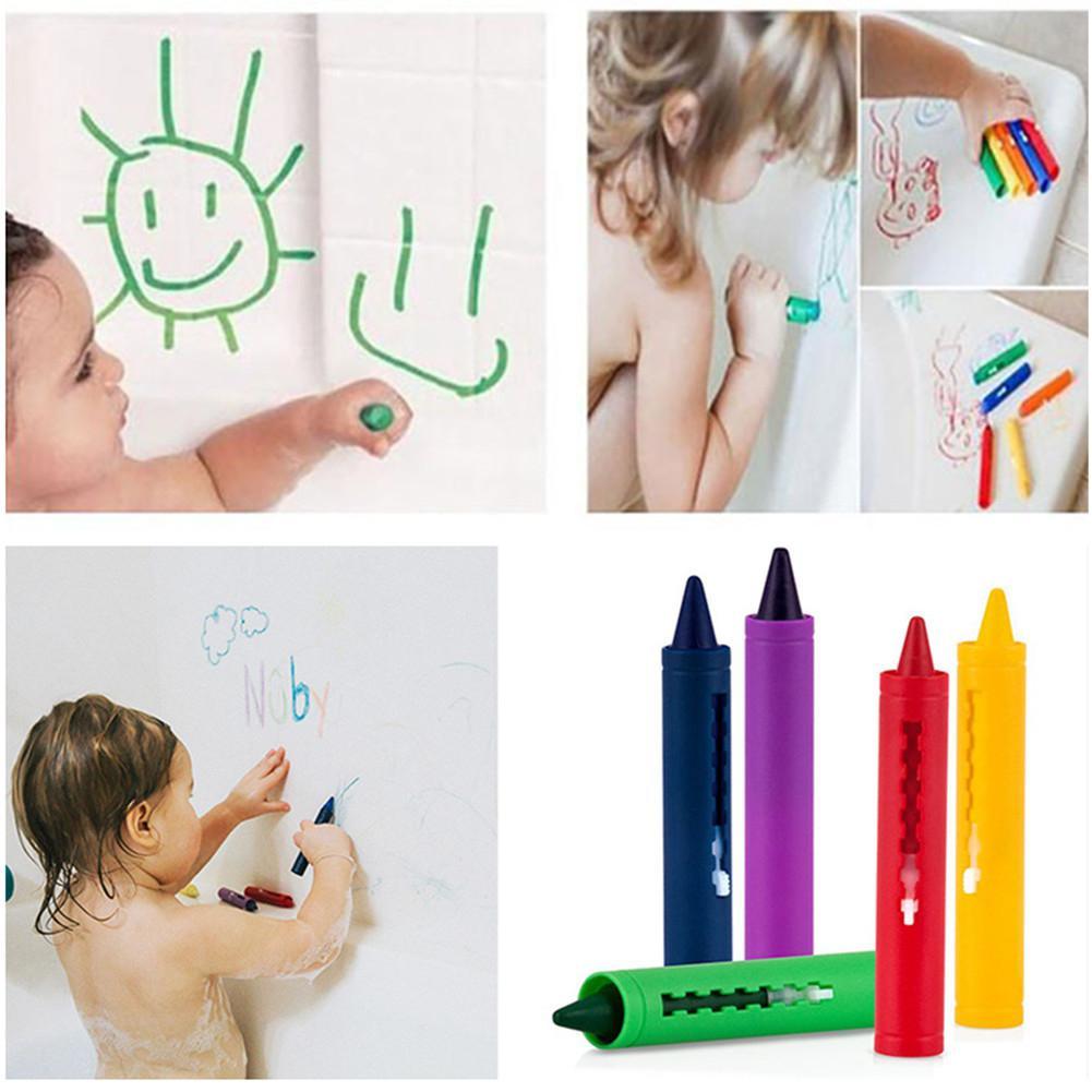 RCtown 6Pcs/Set Bathroom Crayon Erasable Graffiti Toy Doodle Pen For Baby Kids Bathing