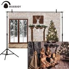 Allenjoy christmas backdrop brick wall wood door winter new year photophone photo background photocall photography photozone