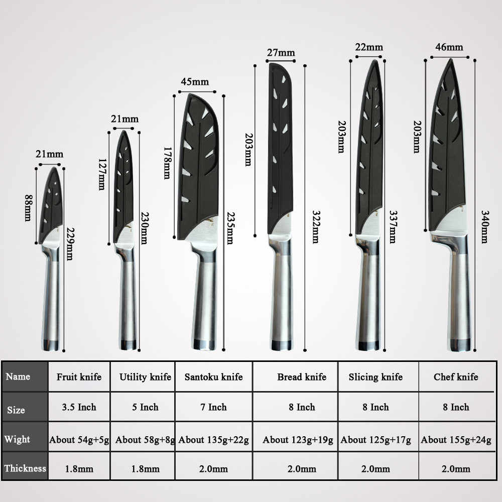 XYj Kitchen Knife Set 7cr17 Stainless Steel Structure Knives Fruit Utility Santoku Chef Slicing Bread Lightweight Cooking Knife