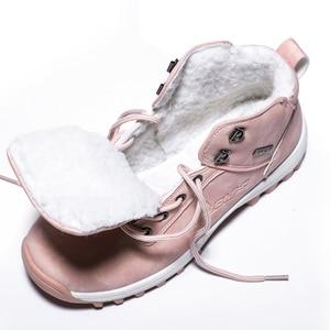 Image 5 - Mùa đông 2020 Ngoài Trời Sang Trọng Ấm Ủng Cho Nữ Da PU Chống Thấm Nước Tuyết Giày Màu Hồng Thời Trang Mắt Cá Chân Giày Người Phụ Nữ Lớn size 42