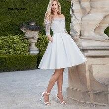 Robe Wedding-Dresses Bridal-Gown Satin Mariage Lace Elegant Off-Shoulder Boat Short Neck