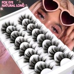 3D Mink Lashes 5/8/10 Pairs Natural False Eyelashes Fluffy Soft Wispy Volume Dramatic Long Cross Eyelash Extension Makeup
